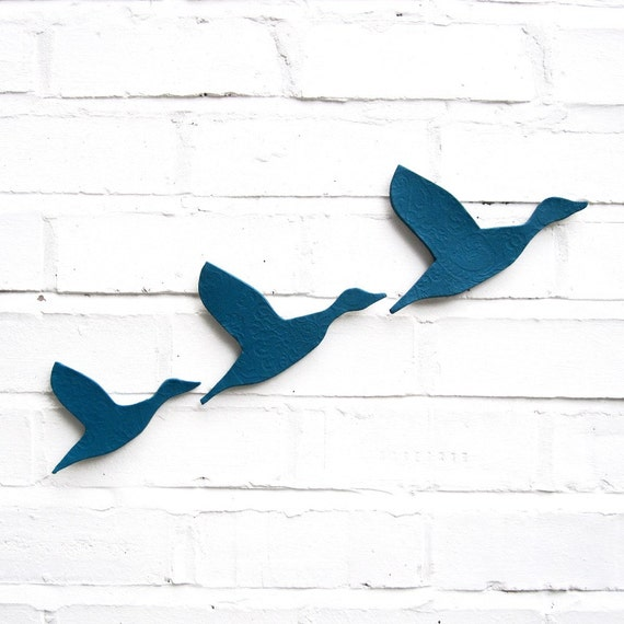 Ceramic Wall Art Flying Ducks In Teal Blue Set Of 3