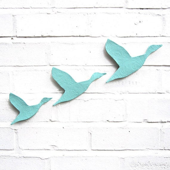 Wall art Ceramic Flying ducks Seafoam turquoise blue pottery Modern retro classic design Home decor Bathroom art kitchen living room