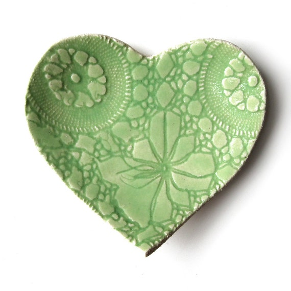 Heart Plate Lace Pottery Lime green ceramic Spring decor Mothers day gift Handmade serving plate ring bowl or soap dish