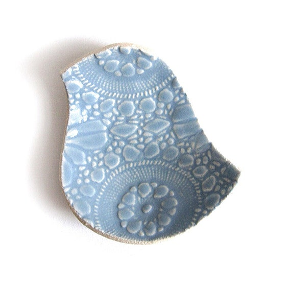 Lacy bird bowl in Wedgewood pale blue stoneware ceramic pottery with vintage crochet lace texture