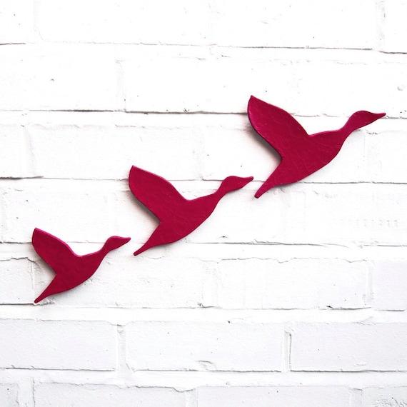 Ceramic wall art Flock flying ducks set of three Bright fuschia pink Home decor Wall ornament Modern retro artwork