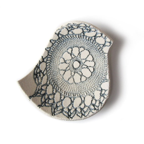 Blue bird bowl Cream stoneware ceramic Vintage lace texture in steel blue grey Handmade in England British studio pottery Mothers Day Gift