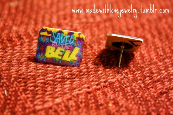 Saved By The Bell Logo Stud Post Earrings