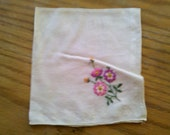 Vintage Embroidered Hankerchief adorned with Pink & Purple Flowers