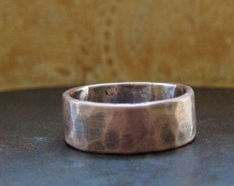 8 mm custom rustic wedding band.  14k rose gold