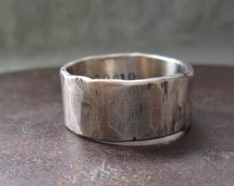 10 mm custom rustic wedding band.  14k white gold