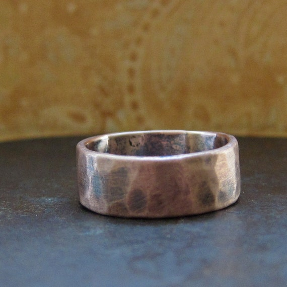8 mm custom rustic wedding band.  14k rose gold
