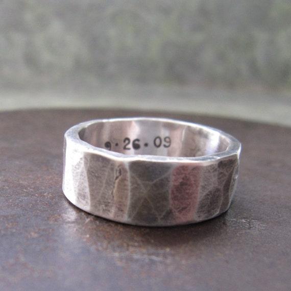 8 mm custom rustic wedding band, silver