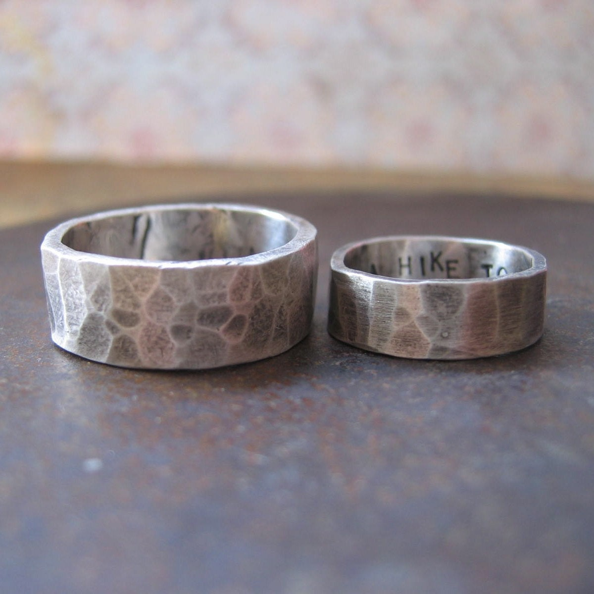 his and hers custom rustic wedding bands silver