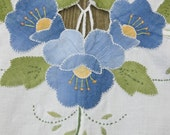 Vintage Cotton Tablecloth Applique Floral White and Blue Cotton Shabby Chic Retro Home Decor