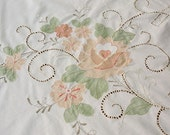 Vintage Cotton Tablecloth Floral Peaches and Cream Retro Home Decor Shabby Chic