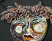 Hooked Wool Purse - Funky Face