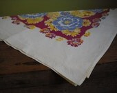 FREE SHIPPING Vintage Floral Tablecloth