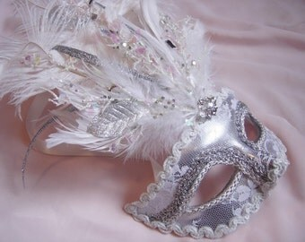 Ice Queen Lace Overlay Venetian Mask