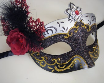 Red Rose and Glittered Ribbon Tied Mask