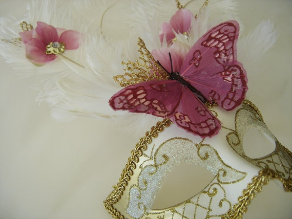 Pink Butterfly and Flower Venetian Mask