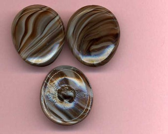 A Trio Of Vintage Glass Buttons - Multi Color Stripes - 1960's