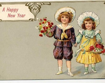 New Year Postcard - Darling  Children