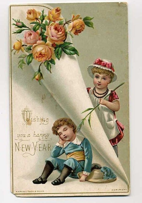 victorian greeting card happy new year by tuck by vintagevendor, Greeting card