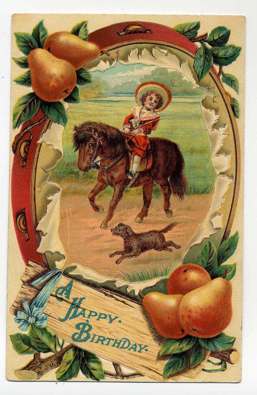Vintage A Happy Birthday Postcard Victorian Boy Rides Pony