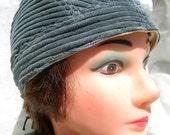 Unique Blue/ Gray Corduroy Skullcap Headwrap Doorag