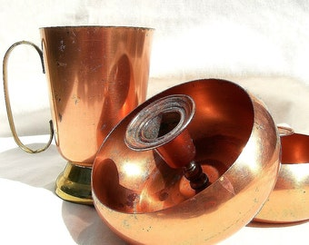 Vintage 1960s Copper/ Brass Cup and Candleholder Set- Great for SCA Feastware
