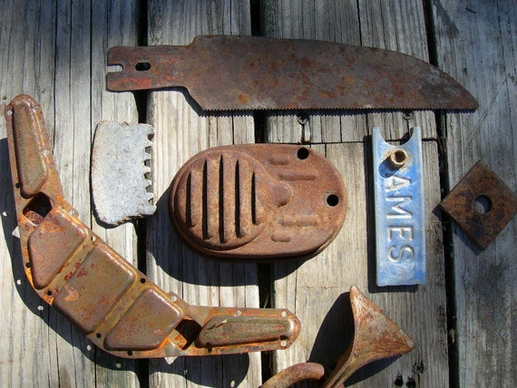 Lot of Seven Old Metal Items Interesting Shapes for Steampunk Altered Art Supplies