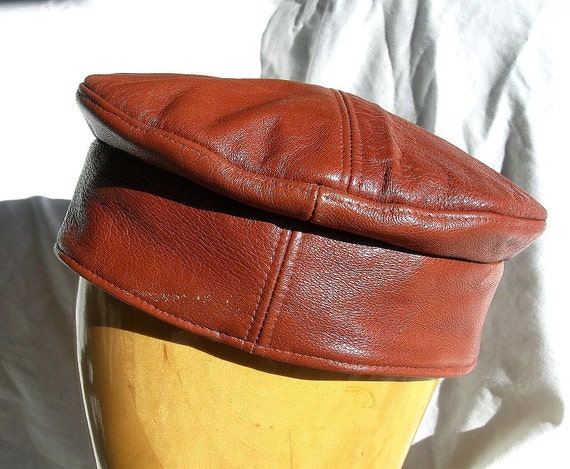 Orange Tan Leather Kufi Hat