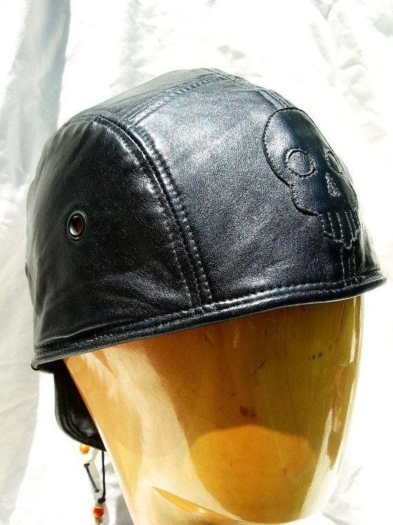 Black Leather Skullcap with Skull on Front