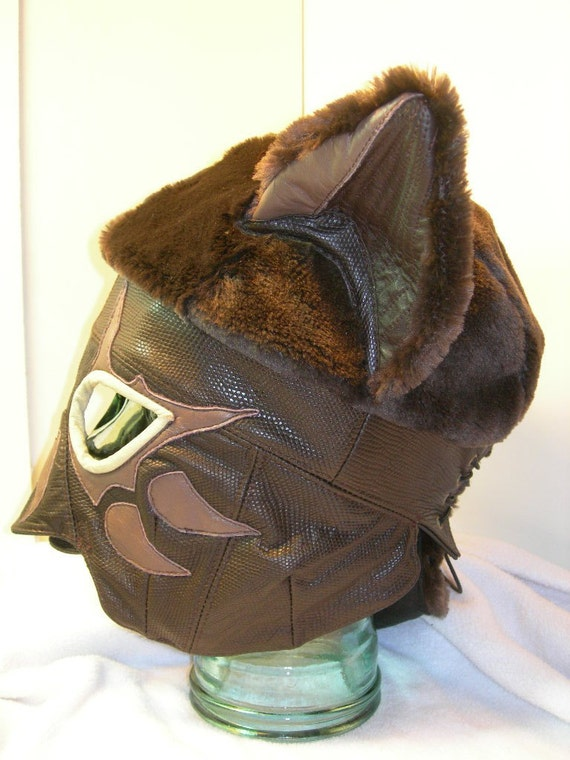 Brown Leather/ Faux Fur Kitty/ Fox Head Mask