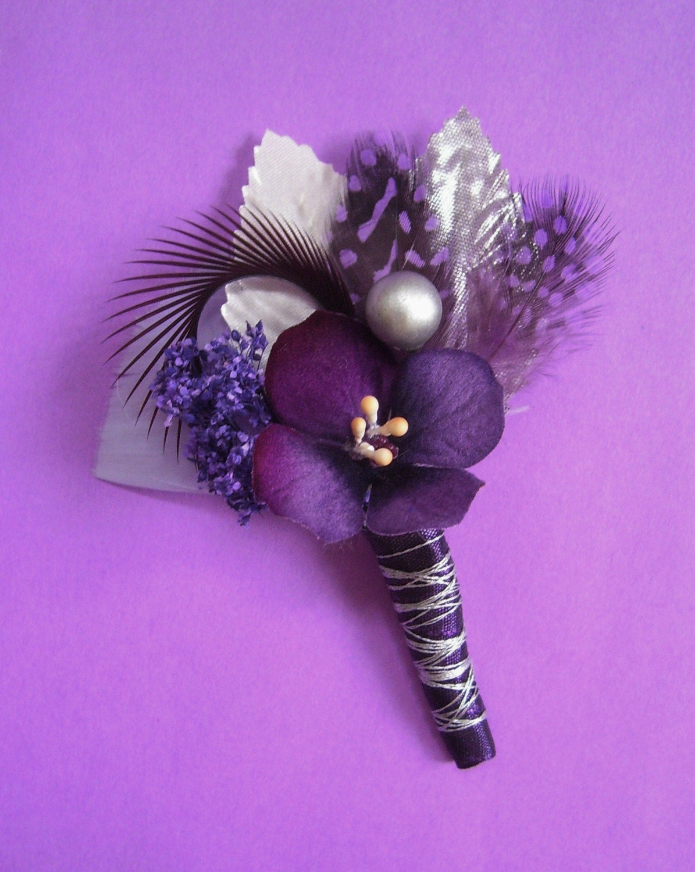 purple and silver wedding purple and silver wedding Purple and Silver Wedding Boutonniere Corsage zoom