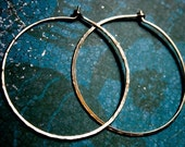 Rustic Hoops - Hammered Texture - Yellow Gold-Filled - Extra Large Lightweight - Jennifer Cervelli Jewelry
