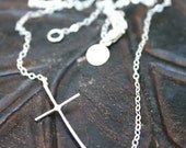 Sideways Cross Necklace - Heart Chakra Spiritual Talisman - Jennifer Cervelli Jewelry