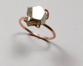 Pyrite Ring Pink Gold - Pyrite Chunk - 14k Rose Gold - Engagement Wedding Band - Featured in the Huffington Post - Jennifer Cervelli Jewelry
