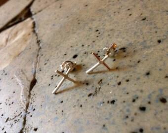 Cross Post Earrings - Sterling Silver or Gold Fill - Jennifer Cervelli Jewelry