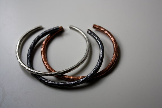 Lucky Horseshoe Cuff Bracelets - Set of Three - Heavy Bangle Textured - The Ranch Collection - Jennifer Cervelli Jewelry