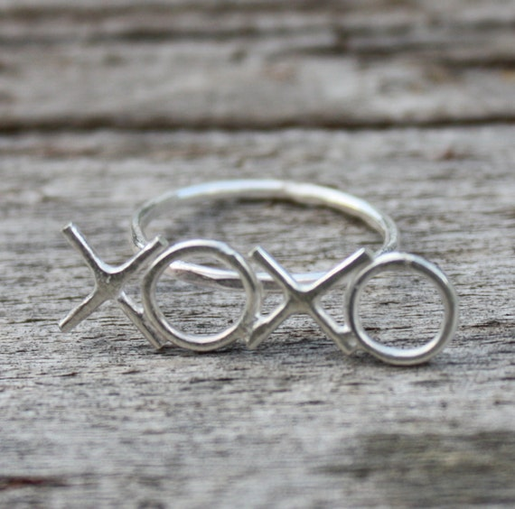 XOXO sterling silver ring