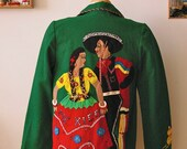 RESERVED for Black Poodle - 1950s Green Embroidered Souvenir Mexico Jacket B34