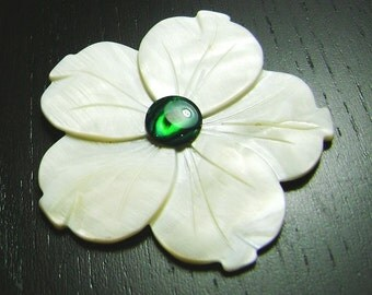CLEARANCE !!! White Mother of Pearl Plumeria with Green Paua Shell Cabochon