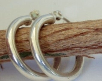 Small Modern Sterling Hoops