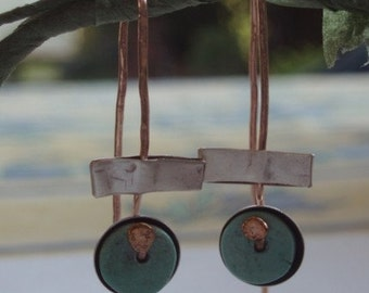 Turquoise and  goldfield  handmade earrings