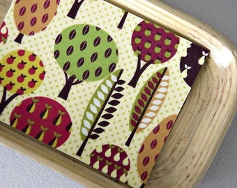 Autumn Forest - Set of 8 Fabric Note Cards // Thank You Cards // Stationery // Trees // Autumn // Farm // Orchard //