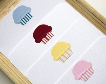 Sweet Treat - Fabric Stationery Set // Cupcake Note Card // cupcake card
