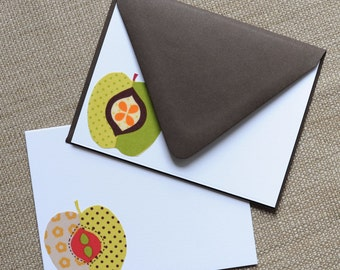 Fabric Apple Note Cards // Thank You Cards // Teacher // Stationery // For All Occasions // Post Cards