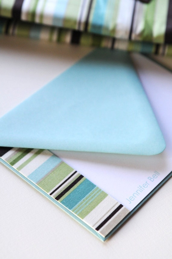 Personalized FABRIC Note Cards - Cool Stripes