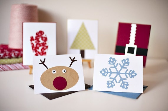 Christmas Card Pack - Set of 10 Fabric Cards