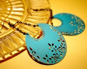 Mexican Filigree Dangle Earrings  Hand Painted Filigree Crescent Moons Sealed no two are alike Fashion Gift Under 25