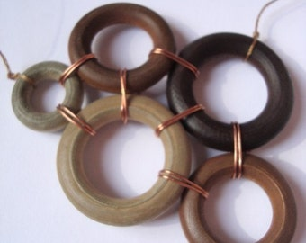 Hand Wired Wood Rings using Copper and Silk -  Kline Necklace wood rings