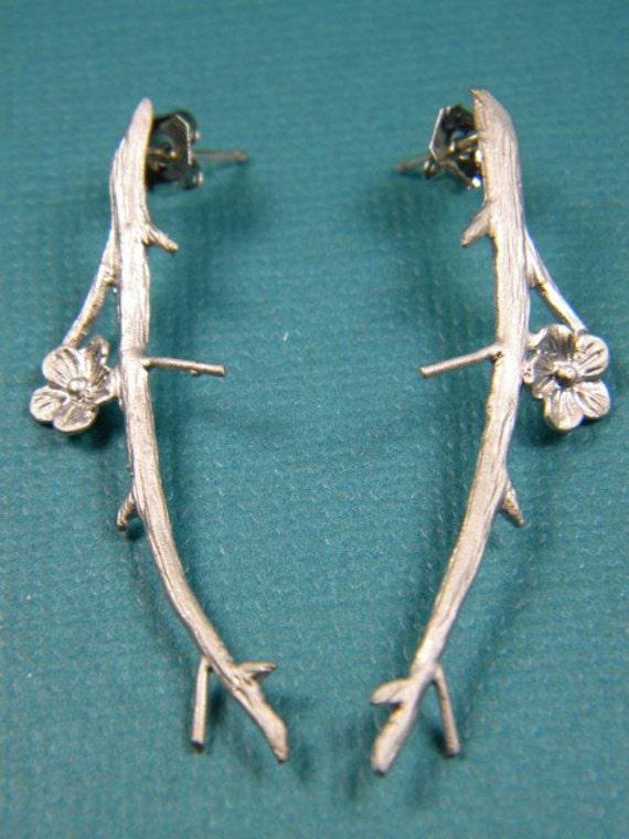 Cherry Blossom Branch Earrings on posts - Eve Earrings