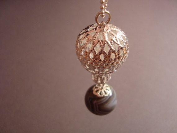 Hot Air Balloon Filigree Necklace - Up Up and Away Necklace
